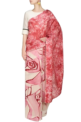 """Light pink """"Peony"""" floral handpainted saree with an unstitched blouse piece by Aadi Shop By Shalini"""