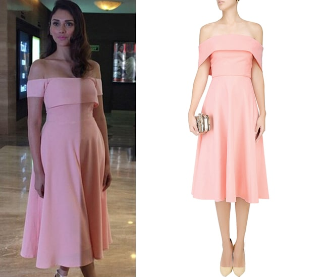 Blush Pink off Shoulder Flounce Dress by Rutu Neeva