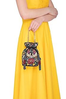 Black Embroidered Round Phoenix Potli Bag by Adora by Ankita