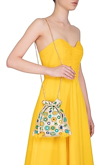 Multi Colored Embroidered Mirror Work Potli Bag by Adora by Ankita