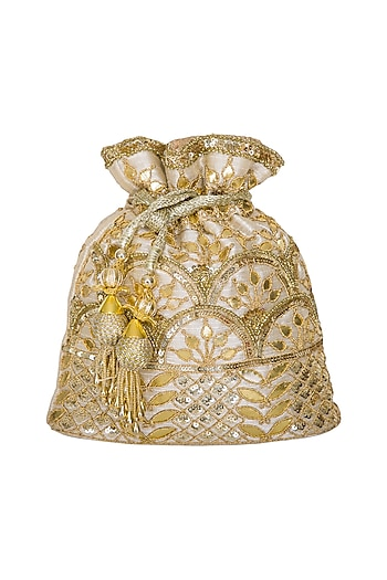 Gold Embroidered Potli Bag by Adora by Ankita