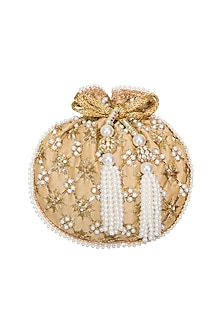 Gold Criss Cross Embroidered Potli Bag by Adora by Ankita