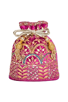 Pink Embroidered Velvet Potli Bag by Adora by Ankita