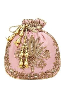 Pink Zardozi and Beads Embroidered Potli Bag by Adora by Ankita