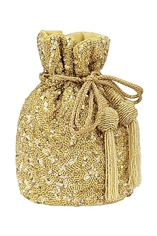 Gold Beads and Sequins Embroidered Bucket Potli Bag by Adora by Ankita