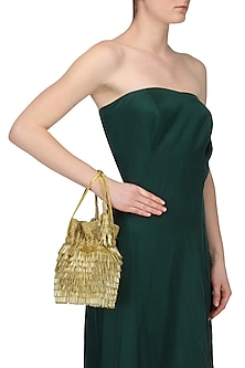 Gold Beads Tasseled Bucket Potli Bag by Adora by Ankita