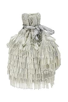 Silver Beads Tasseled Bucket Potli Bag by Adora by Ankita