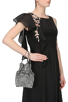 Charcoal Grey Beads Tasseled Bucket Potli Bag by Adora by Ankita