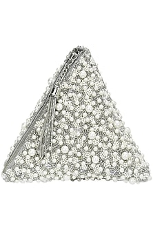 Silver Beads and Pearl Embellished Triangle Pouch/Bag by Adora by Ankita