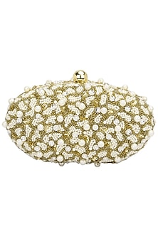 Gold Pearl Embellished Oval Clutch by Adora by Ankita