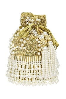 Gold Beads and Cutdana Flapper Potli Bag by Adora by Ankita