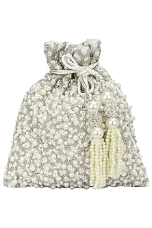 Silver Pearls and Beads Flat Potli Bag by Adora by Ankita