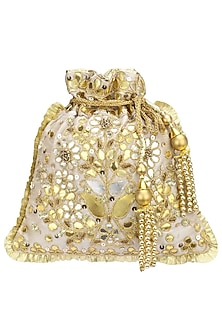 Beige and Gold Gota Patti Embroidered Potli Bag by Adora by Ankita