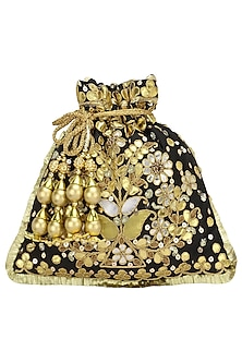 Black and Gold Gota Patti Embroidered Potli Bag by Adora by Ankita