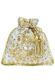Powder Blue and Gold Gota Patti Embroidered Potli Bag by Adora by Ankita