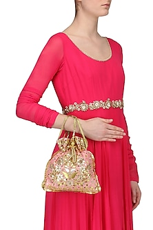 Light Pink and Gold Gota Patti Embroidered Potli Bag by Adora by Ankita