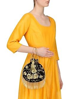 Black Zardozi and Beads Flapper Potli Bag by Adora by Ankita