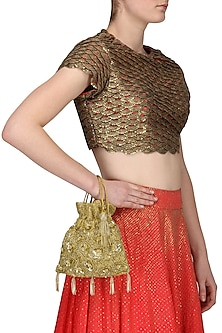 Gold Floral Sequined Potli Bag by Adora by Ankita