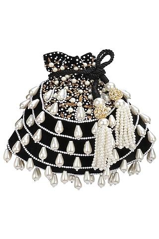 Black Pearl Tasseled Potli Bag by Adora by Ankita