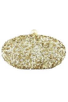 Gold sequins embellished oval shaped clutch by Adora By Ankita