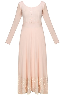 Baby pink anarkali kurta set by Anshul Apoorva-The DramaQueens