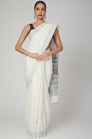 White Jamdani Floral Saree by Aditri