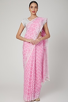 Baby Pink Floral Jamdani Saree by Aditri-POPULAR PRODUCTS AT STORE