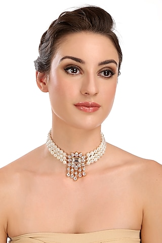 Gold Finish Pearl & Diamond Choker Necklace by AETEE