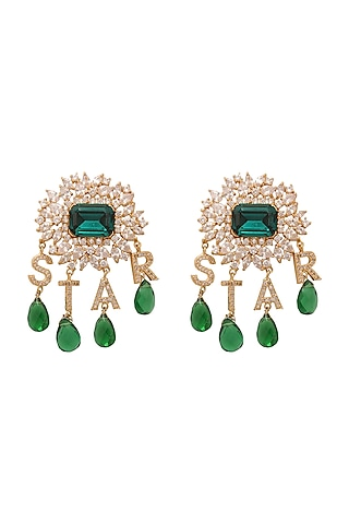 Gold Finish Green Stone & Diamond Earrings by AETEE