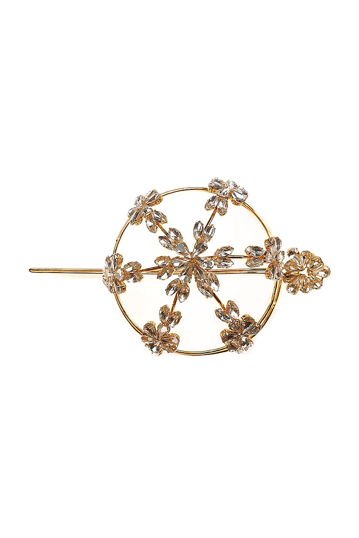 Gold Finish Crystal Hair Bun Pin by AETEE