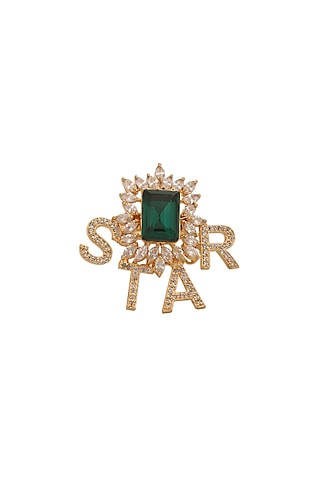 Gold Finish Diamond Star Ring by AETEE