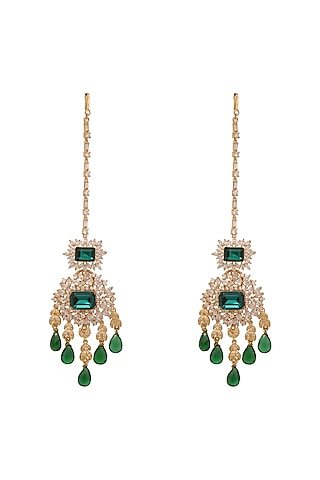 Gold Finish Green Stone & Crystal Earrings by AETEE