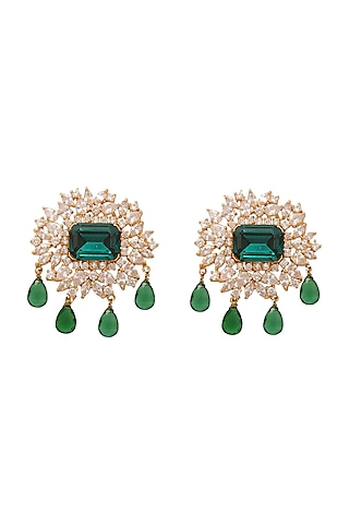 Gold Finish Green Stone & Crystal Stud Earrings by AETEE