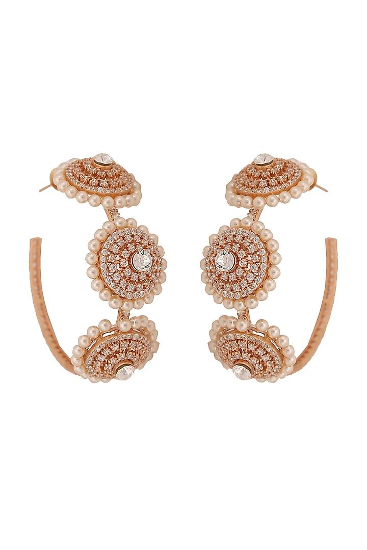 Gold Finish Pearl Hoop Earrings by AETEE