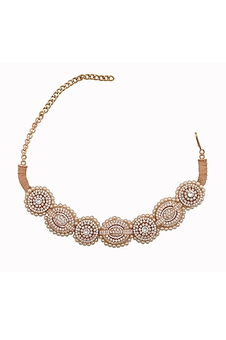 Gold Finish Crystal Choker Necklace by AETEE