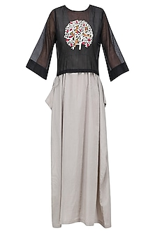 Black Embroidered Top with Striped Maxi Dress by Aekatri by Charu Vij