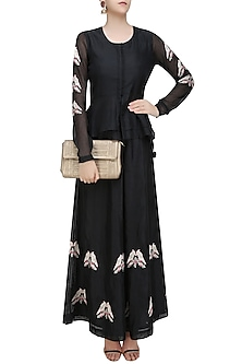 Black Birds Embroidered Peplum Top and Flared Pants Set by Aekatri by Charu Vij