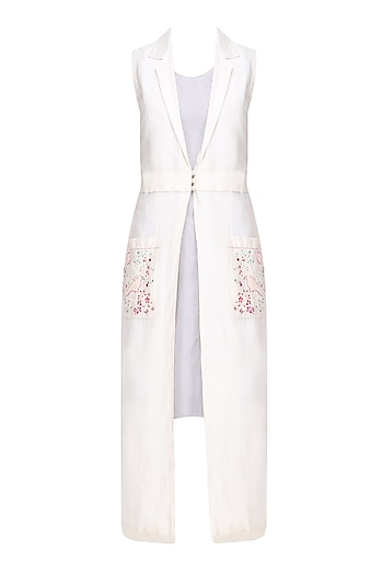 Ivory Birds Embroidered Long Jacket with Slip Dress by Aekatri by Charu Vij