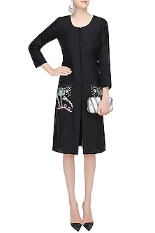 Black Floral Embroidered Patch Loose Dress by Aekatri by Charu Vij