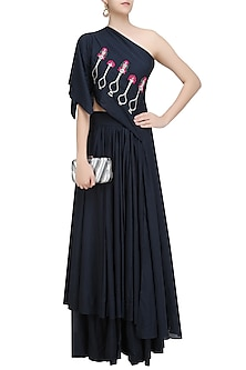Slate Blue Embroidered Asymmetric Top and Skirt Set by Aekatri by Charu Vij