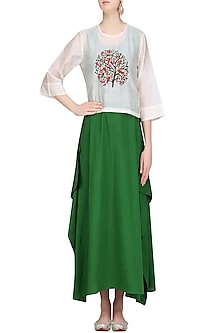 Off White Embroidered Top with Green Maxi Dress by Aekatri by Charu Vij