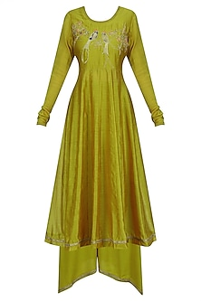 Mustard Lovebirds Motif Anarkali Set by Aekatri by Charu Vij