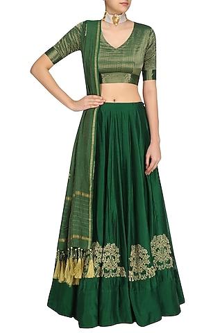 Emerald Gaj Embroidery Lehenga Set by Aekatri by Charu Vij
