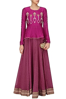 Cranberry Embroidered Peplum Lehanga Set by Aekatri by Charu Vij