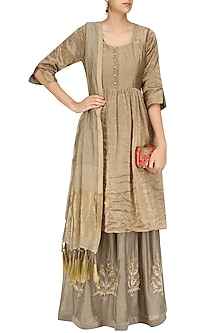 Beige Begum Kurta Set by Aekatri by Charu Vij