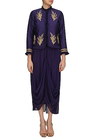 Eggplant Color Embroiderd Frill Jacket with Asymmetric Skirt by Aekatri by Charu Vij