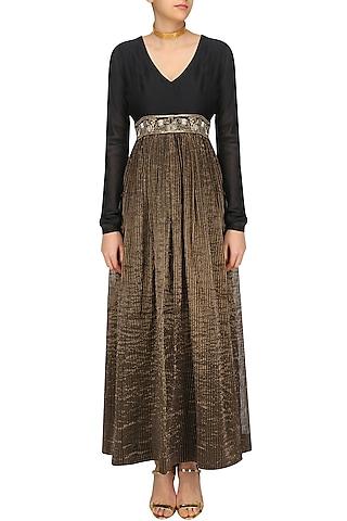 Black and Gold V Neck Dress by Aekatri by Charu Vij
