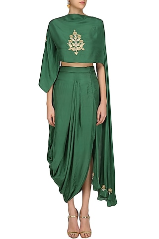 Green Floral Embroidered Top with Asymmetric Skirt by Aekatri by Charu Vij