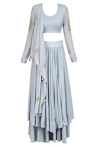 Powder Blue Drape Top with Two Layer Bias Cut Skirt by Aekatri by Charu Vij