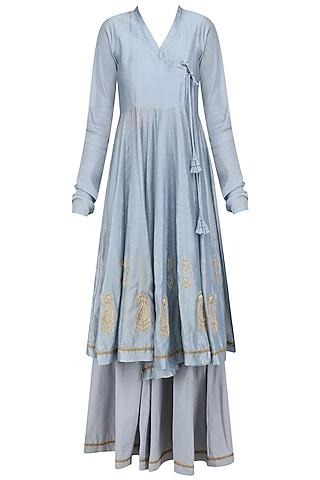 Powder Blue Embroidered Angrakha Style Kurta and Flared Pants Set by Aekatri by Charu Vij